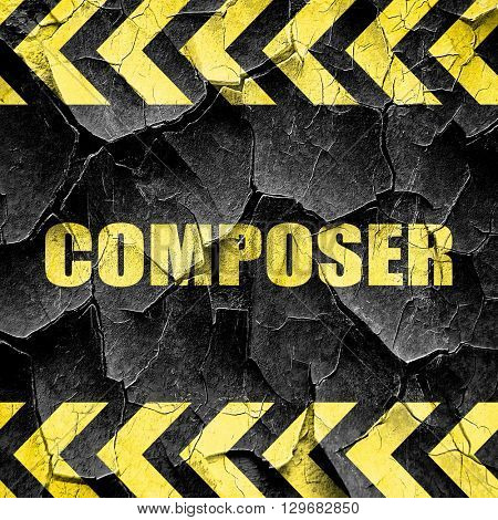 composer, black and yellow rough hazard stripes