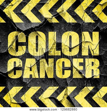 colon cancer, black and yellow rough hazard stripes