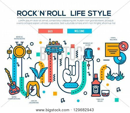 ROCK'N'ROLL outline icons collection set.  Music equipment linear symbol pack. Modern template of thin line icons, logo, symbols, pictogram and flat illustrations concept.