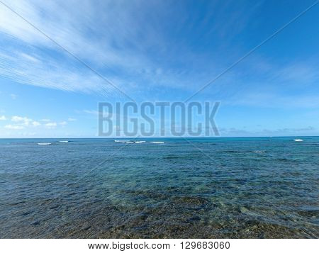 Shallow ocean waters of Waikiki looking into the pacific ocean. Febuary 2016.