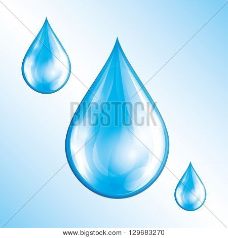 Set of blue glowing water drops isolated on blue - white background. Nature objects design elements for icons. Vector illustration