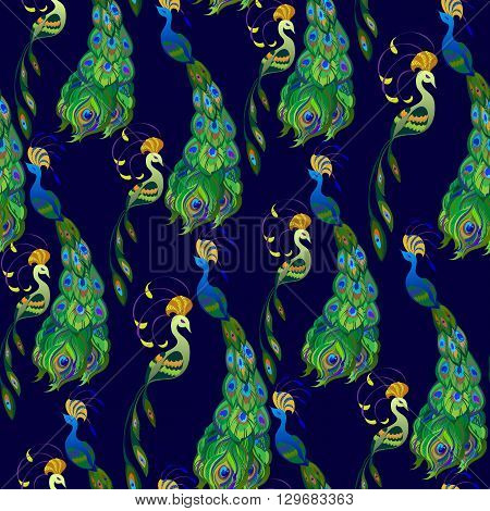 Green seamless peacock birds pattern background. Couple peacock birds with blue background. Green feathers birds seamless pattern background. Indian or brazilian pattern Vector illustration