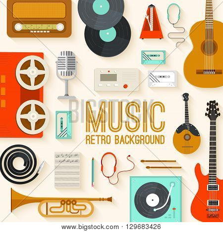 Retro equipment music set circle infographics template concept. Icons design for your product or design, web and mobile applications. Vector flat with long shadow illustration on blue background
