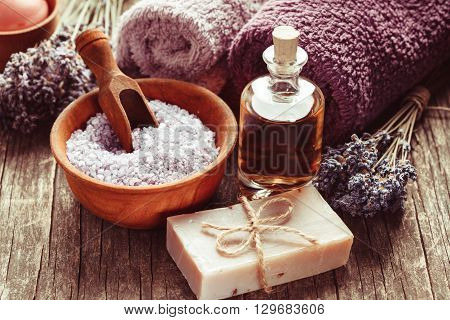 Lavender spa - essential oil, seasalt, violet towels and handmade soap