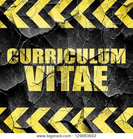 curriculum vitae, black and yellow rough hazard stripes