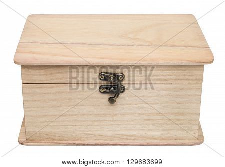 Closed plain wooden casket. Isolated on the white background. Front view.