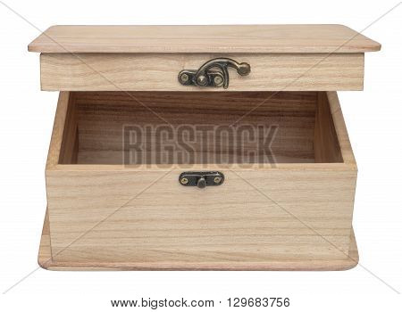 Haft-open  plain wooden casket. Isolated on the white background. Front view.