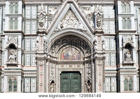 FLORENCE, ITALY - JUNE 05: Main Portal of Cattedrale di Santa Maria del Fiore (Cathedral of Saint Mary of the Flower), Florence, Italy on June 05, 2015