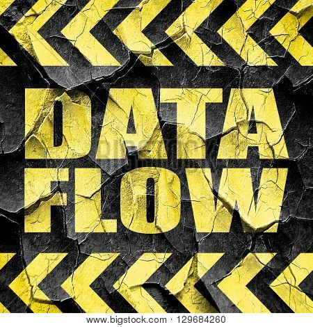 data flow, black and yellow rough hazard stripes
