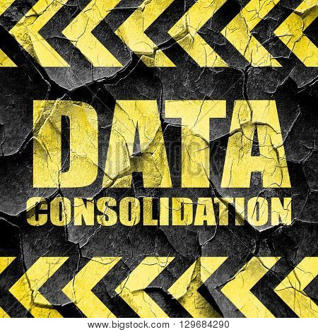 data consolidation, black and yellow rough hazard stripes