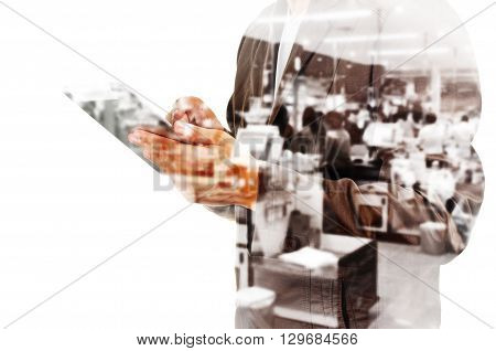 Double Exposure Of Busienssman With Tablet And Blur Supermarket Cashier Counter