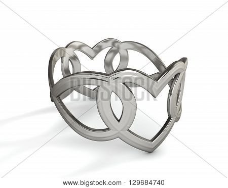 Platinum beautiful ring with precious stones isolated on white. 3D rendering
