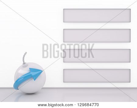 Bomb and Banner Stripes on white 3D rendering image