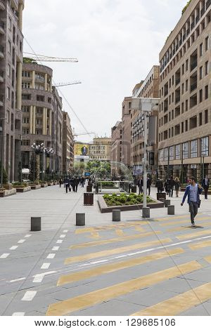 Yerevan, Armenia-may 02:north Avenue In Yerevan On May 02, 2016. It`s Pedestrian Street In Yerevan.