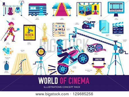 Premium quality cinema industry flat collection design set. Filming minimalistic symbol pack. Modern movie technology template of icons, typography, logo, pictogram and illustration concept background