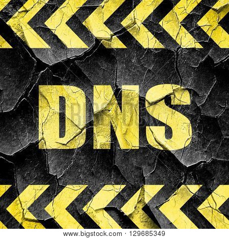 dns, black and yellow rough hazard stripes