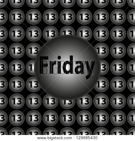 Friday the 13th - decorative vector black and silver circular background