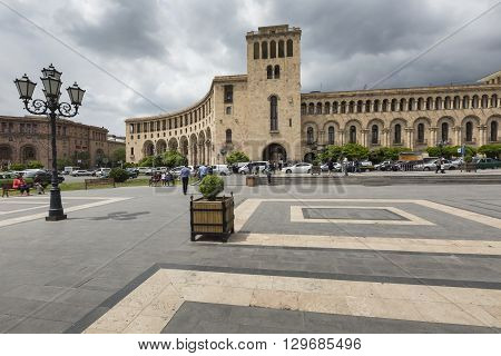 Yerevan, Armenia-may 02: Republic Square And Ministry Of Foreign Affairs Of Armenia On May 02, 2016.