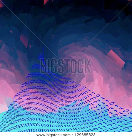 Abstract deep sea coloring gradients background with visual cubism effect,binary code numbers one and zero
