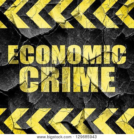 economic crime, black and yellow rough hazard stripes