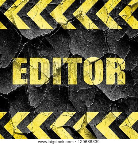 editor, black and yellow rough hazard stripes