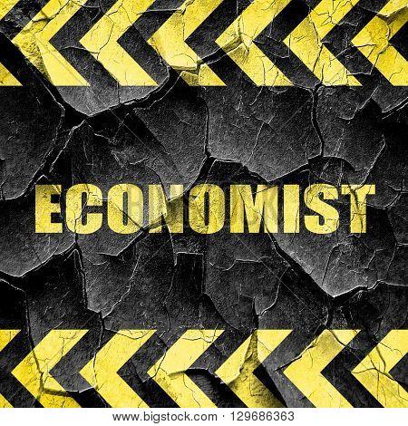 economist, black and yellow rough hazard stripes