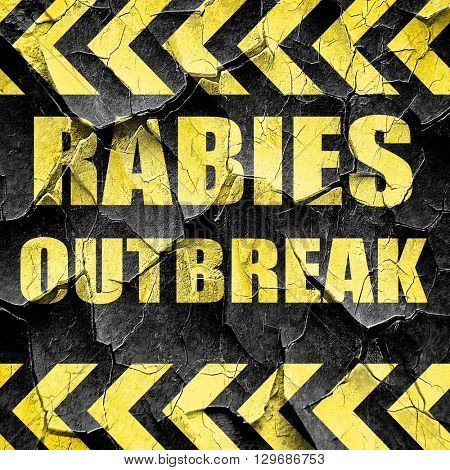 Rabies virus concept background, black and yellow rough hazard s