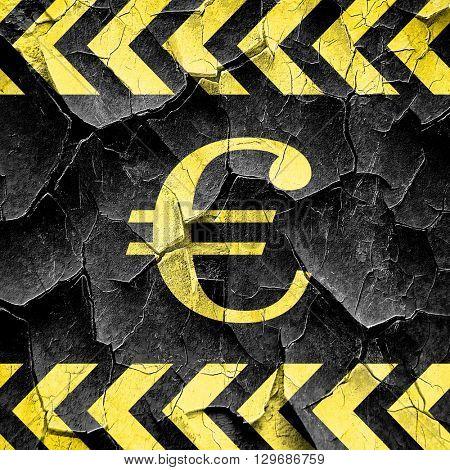 euro sign, black and yellow rough hazard stripes