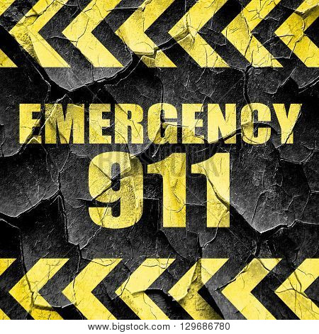 emergency 911, black and yellow rough hazard stripes