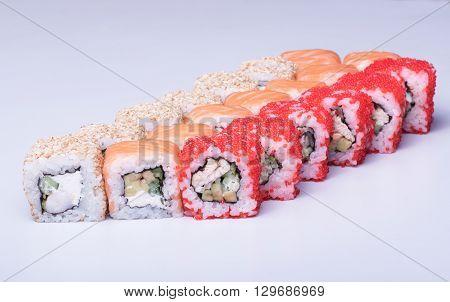 Healthy traditional japanese sushi assorti macro shot