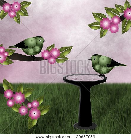 Green and pink nature scene, two birds- one sitting on flowering tree limb and other on black birdbath. Pink textured sky background and green grass.