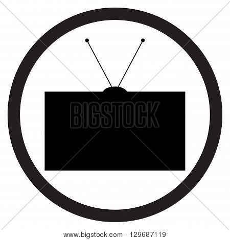 Tv icon black white. Television and tv screen watching tv and tv icon old tv or retro tv. Tv electronic television screen and technology display equipment. Vector flat design illustration