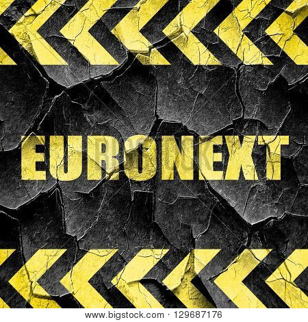 Euronext, black and yellow rough hazard stripes