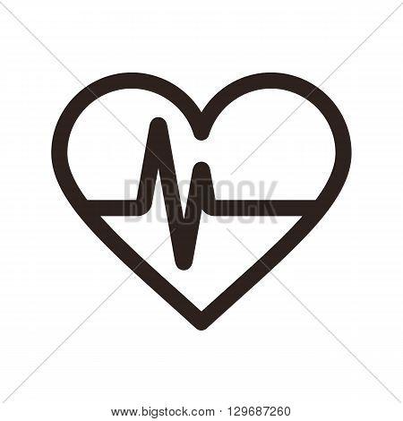 Heartbeat icon. Electrocardiogram ecg or ekg isolated on white background