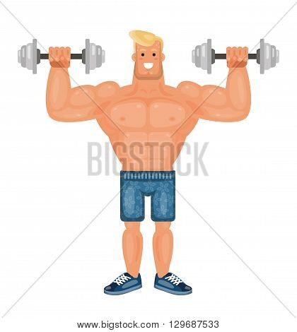 Beautiful pumped up bodybuilder man doing exercises with dumbbells and smiling flat vector illustration