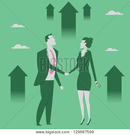 Business partnership concept vector illustration. Businessman and woman shaking hands. Reaching goal. Growth to success.