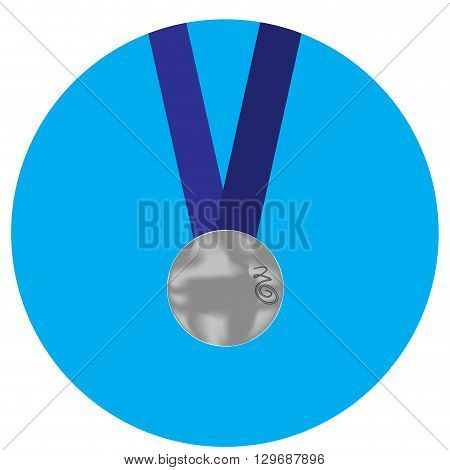 Silver medal icon. Medal and silver metal silver and medallion award medal symbol and silver winner success. Vector flat design illustration