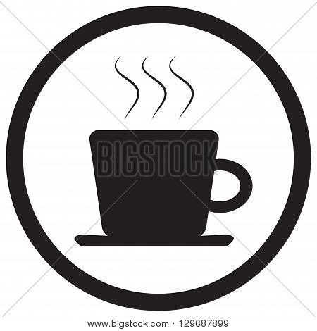 Tea and coffee cup icon black white. Cup of tea isolated and mug of tea or vintage tea cup. Coffee and coffee mug coffee cup isolated and tea cup. Vector flat design illustration