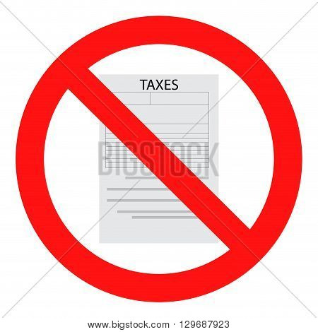 Tax ban icon flat. Finance money sign. Vector flat design illustration