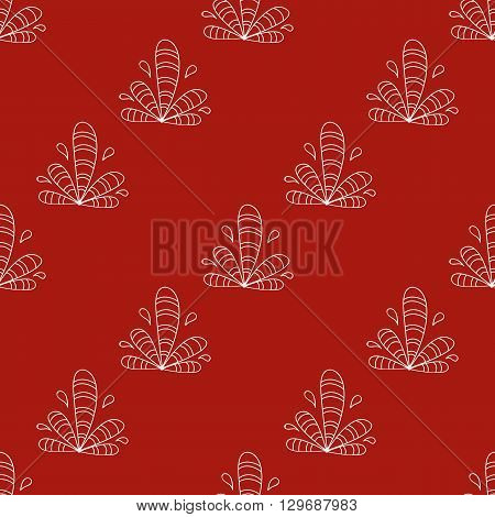 Seamless pattern with hand drawn elements henna style on red background. Background  textile cover wrapper fabric.