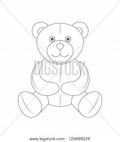 Cute monochrome outline teddy bear soft toy vector illustration and art