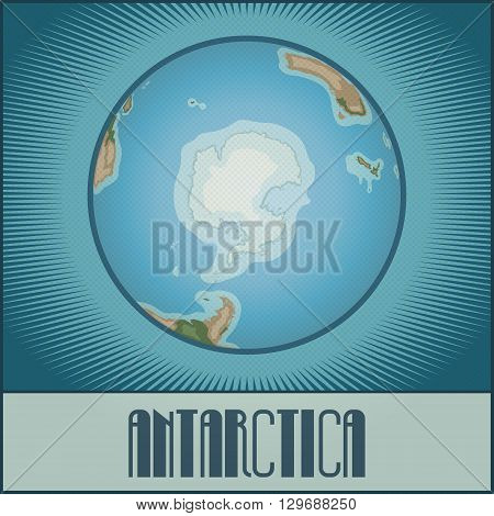 Vector flat cartoony globe of the Earth with Antarctica side. Made in retro style with Ben-Day dots. With gradients, transparencies and blending modes.