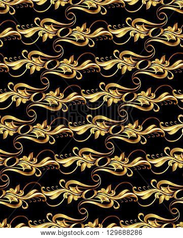 Seamless wallpaper with golden pattern. five horizontal lines in the form of vines