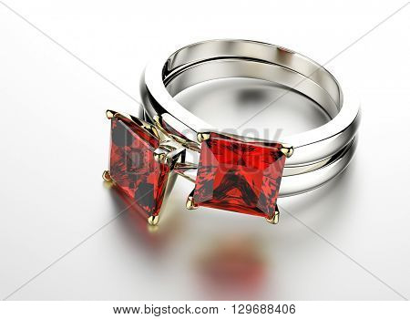 3D illustration of gold Ring with Garnet. Jewelry background. Fashion accessory