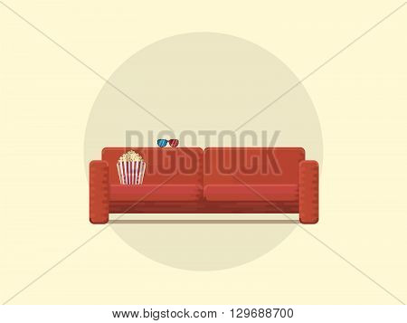 Cozy couch for an evening watching a movie popcorn and 3D glasses vector flat illustration