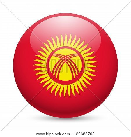 Flag of Kyrgyzstan as round glossy icon. Button with Kyrgyz flag