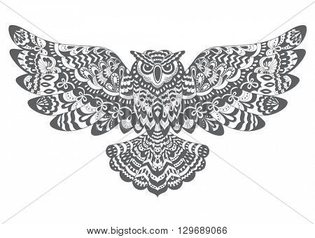Stylized Decorative Vector Owl. Drawing for Coloring Book or Print for T-shirt .