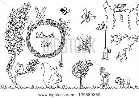 Vector illustration Zen Tangle wild nature. Doodle flowers garden forest. Coloring book anti stress for adults. Full page. Black and white.