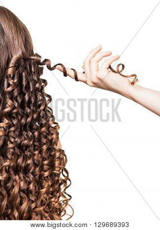 Hairstyle of curls, curl hairdresser hand holding isolated on white background