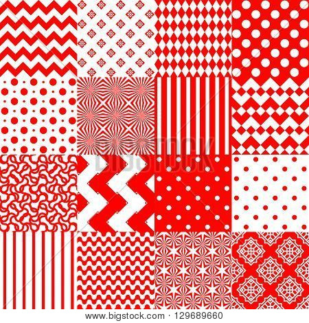 Set of seamless backgrounds with geometric print in red and white. Vector abstract image. Good background for wrapping paper and textiles. Festive red-white texture. Patchwork.